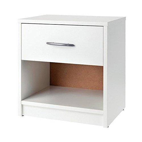 Avanti Trendstore Comodino con un cassetto e un scompartimento aperto, bianco, ca. 39x41x28cm
