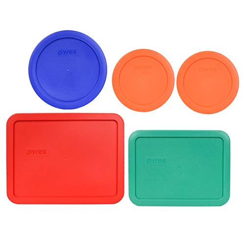 Pyrex (2) 7200-PC 2 Cup Orange (1) 7201-PC 4 Cup Cadet Blue (1) 7210-PC 3 Cup Light Green and (1) 7211-PC 6 Cup Red Plastic Storage Lids