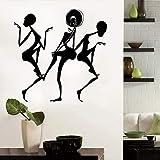 wZUN Chica Negra Bailarina diseño Mural Pegatinas de Baile decoración de Sala de Estar y Dormitorio extraíble 57X24cm