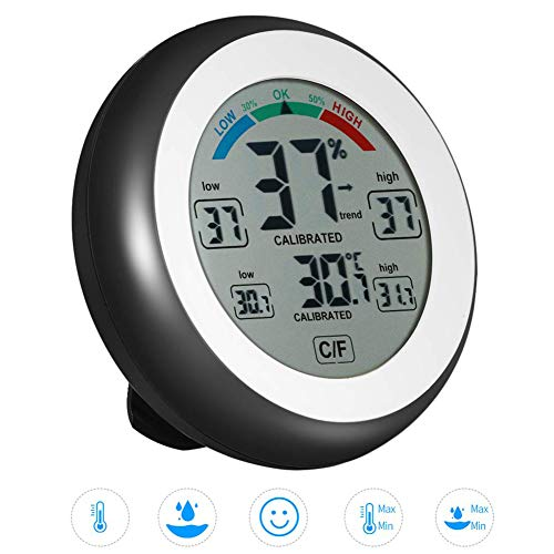 JIGUOOR Thermo-Hygrometer Thermometer Temperaturmesser Luftfeuchtigkeitsmessgerät Multifunktionales Digitalthermometer Hygrometer Temperatur-Feuchte-Messgerät für Babyraum, Wohnzimmer, Büro