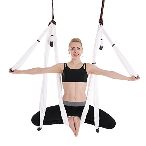 Cheapest Prices! HUIJIEUS Aerial Yoga Trapeze, Air Yoga Hammock Swing Set Antigravity Ceiling Hangin...