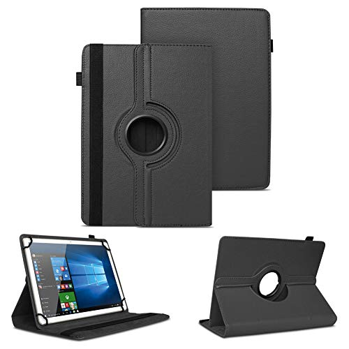 NAUC Schutzhülle kompatibel für Archos Copper 101C Tablet Tasche Universal Hülle aus Kunstleder Standfunktion 360 Drehbar Cover Hülle, Farben:Schwarz