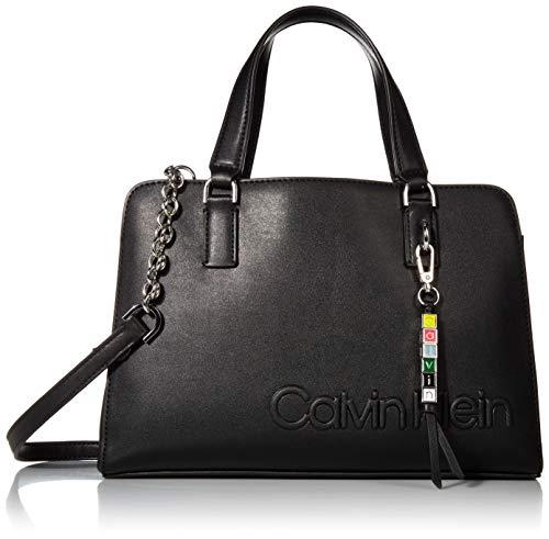 Calvin Klein Cube Smooth Vegan Leather Satchel, WALNUT