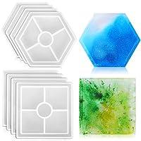 樹脂コースター型 – 8個 厚いシリコン型 – 再利用可能なノンスティック型 エポキシ樹脂用 – 六角形と四角形 – 柔軟で丈夫 – DIYクラフト、コースター、家の装飾、オーナメントに最適