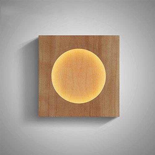 Applique Murale Simple, Lumières de l'allée Lumières murales LED Chambre Lampes de Chevet Lampes décoratives en Bois Massif (Couleur : Rond)