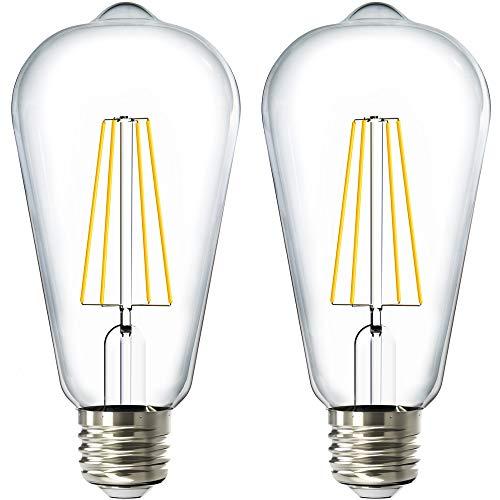 Sunco Lighting 2 Pack ST64 LED Bulb, Dusk-to-Dawn, 7W=60W, 3000K Warm White, Vintage Edison Filament Bulb, 800 LM, E26 Base, Outdoor Decorative String Light - UL Listed