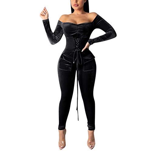 Xmiral Strampler Overalls Damen Schulterfrei Schnürung Tight Waist Jumpsuit Langarm Einfarbiger Bodysuit(Grau,XL)