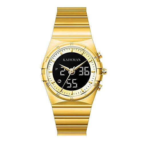 Relojes De Pulsera para Hombre Reloj De Cuarzo Digital Analógico Correa De Acero Inoxidable Dial Resistente Al Agua con Calendario Función De Podómetro para Adolescentes Decoración Al Aire Libre