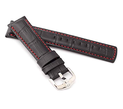 HIRSCH Herren Uhrenarmband Alligator Style Modell Grand Duke 20 mm Schwarz/rot
