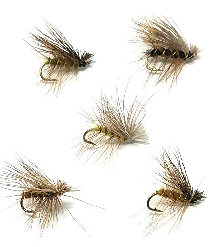 Feeder Creek Fly Fishing Assortment - 30 ELK Hair Caddis Flies in 5 Colors and 3 Sizes (Natural, Olive, Brown, Yellow, Black)