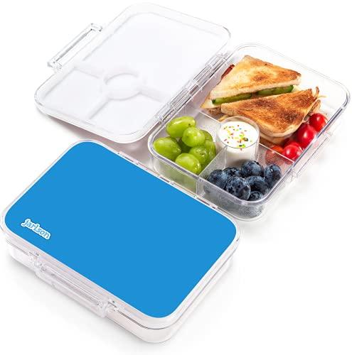 JARLSON® Brotdose für Kinder mit 4 Fächern - TÜV geprüft - Lunchbox aus Tritan - Bento Box auslaufsicher – Jausenbox für Kindergarten und Schule - Mädchen und Jungen - 850ml (Blau)