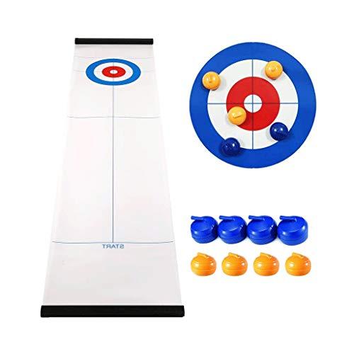 YYL Schnelles Sling Puck Spiel Tisch-Curling-Spiel Kompaktes Curling-Brettspiel mit 8 Rollen für Kinder und Erwachsene Familienspiel Indoor Party Fun Time Table Game Geschenke