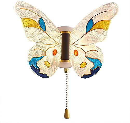 Lámpara de pared LED regulable para habitación de niños con interruptor de tirón Lámpara de pared de mariposa de dibujos animados creativa Lámpara de pared interior ajustable de 3 temperaturas de