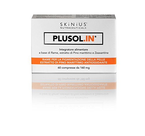 Skinius PLUSOL.IN Integratore alimentare per la pigmentazione della pelle con Rame, estratto di Pino Marittimo e Zeaxantina