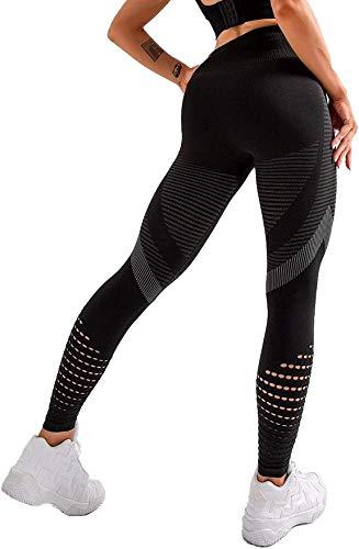 DEEWISH Sporthose Damen, Yoga Hose Sport Leggings Laufhose Tights Lange Blickdicht Yoga Fitnesshose mit Hohe Taille für Workout Gym Jogging (M, Schwarz)