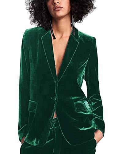 MUCOO Femme Blazer Velours Col Revers Slim Fit Un Bouton Veste de Tailleur Manteau Printemps Automne Hiver