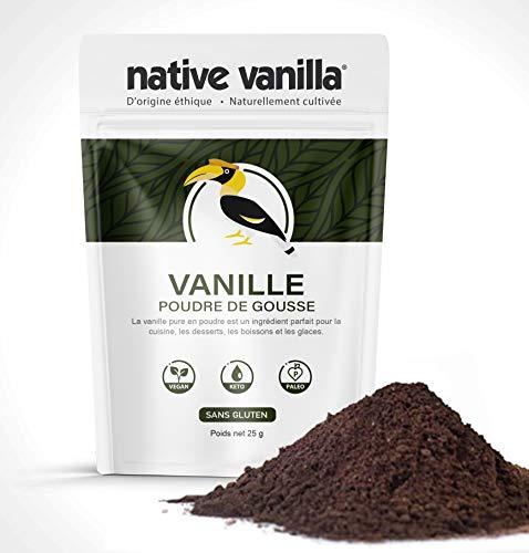Poudre de vanille non-sucrée - gousse de vanille pure moulue - pour café/pâtisserie/glace/régime cétogène - 25 g