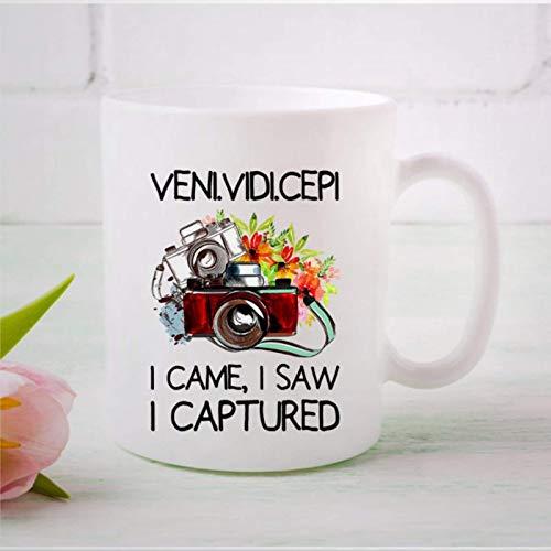 N\A Taza de café, Veni Vidi Cepi I Came I Saw I Captured Mug Fotógrafos Taza de té de café de cerámica Divertida Regalo para Amigo, Familiar, Amante, colega, 11 oz