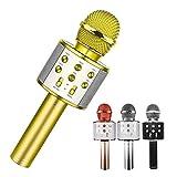 LSEEKA Micrófono Karaoke Bluetooth, 4 en1 Microfono Inalámbrico Portátil con Luces LED para Niños Canta Partido Musica, Función de Eco, Compatible con Android/iOS PC, AUX o Teléfono Inteligente(oro)