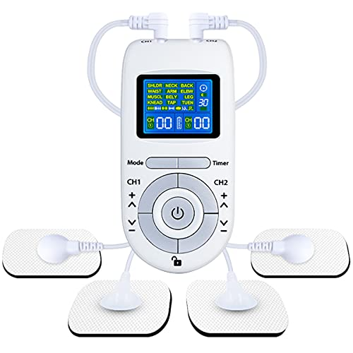 Electroestimulador Digital, [12 Modos, 40 Intensidad] Electroestimulador TENS con 2 Canales, 4 Electrodos Autoadhesivos, TENS & EMS Principio, para Relajar y Masajear Los Músculos (Blanco)