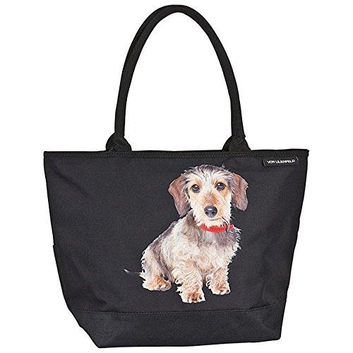 VON LILIENFELD Tasche Hund Rauhhaardackel Umhängetasche Einkaufstasche Gross Shopper Casual Leicht