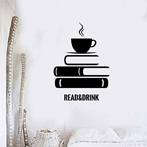 Libros Calcomanía De Vinilo Cita Libro Librería Biblioteca Habitación Pegatinas De Pared Mural Papel Tapiz Extraíble Para Cafetería Decoración De Aula 30 X 41Cm