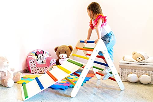 Pekiedo Triángulo de Pikler para niños   Tobogán para escalada   Plegable de madera natural   100% Made in Italy