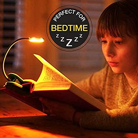 Book Light for Reading in Bed at Night Orange) Bookmark Ideal Gift for Christmas and Birthday Fun Kids Clip on LED Booklight and Bookmark
