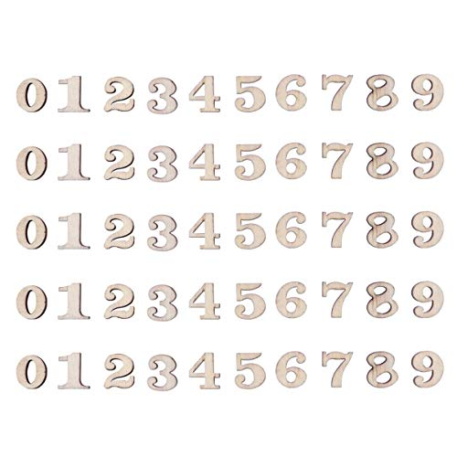 Artibetter 200 Pezzi in Legno Numeri da 0 a 9 abbellimenti per Decorazioni Artigianali Fai da Te Display da 15 mm