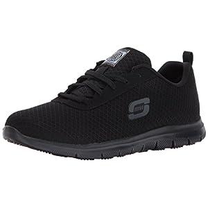Skechers Womens Ghenter - Bronaugh Work Shoe, Black Mesh/Water/Stain Repellent Treatment, 8 US