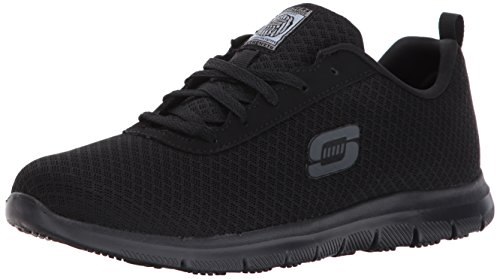Skechers Work Ghenter - Bronaugh Black Mesh/Water/Stain Repellent Treatment 9.5