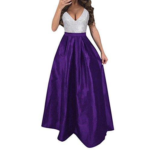 OSYARD Frauen V-Ausschnitt Blusenkleider,ärmellos Cocktailkleider Formale Brautkleider, Damen Hochzeit Brautjungfer Langes Abendfest Ball Abendkleid