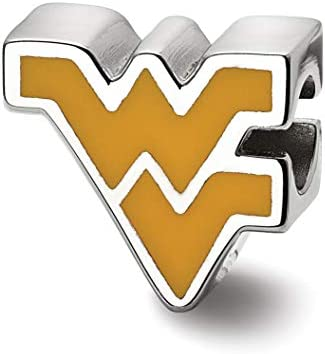 West Virginia University Mountaineers Yellow Flying WV Letters Charm Bead in Sterling Silver product image