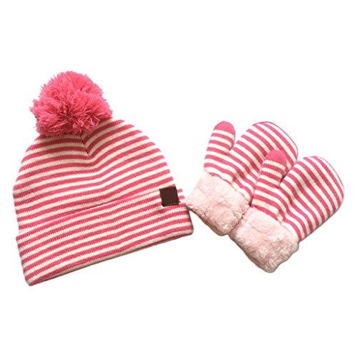 Juego de 2 guantes de lana para bebé a rayas con pompón