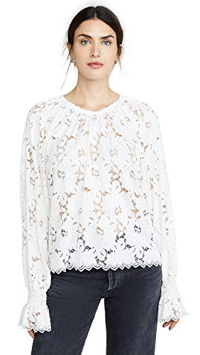 Free People Women's Olivia Lace Top, Ivory, White, Small