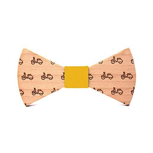 Pajarita de madera La Vespa. Colección de moda hombre: Línea boda y eventos. Modelo inspirado en la clásica moto. Regalo divertido y original. Nudo a elegir