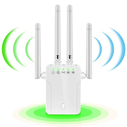 WiFi Booster - WiFi Range Extender,Super Internet Signal Booster, 1200 MBPS 2.4 & 5GHz Wireless Internet Amplifier - Covers 20 Devices with 4 External Advanced Antennas, LAN/Ethernet Ports