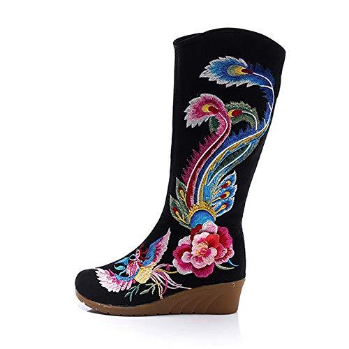 SYXYSM Zapatos Grúa Bordada Mujer Rodilla Altas Botas de Lona Mediana cuña tacón señoras Comodidad Botas Sueltas Bordado Zapatos Negro Zapatos Huesos (Color : Model 2 Black, Size : 36 EU)