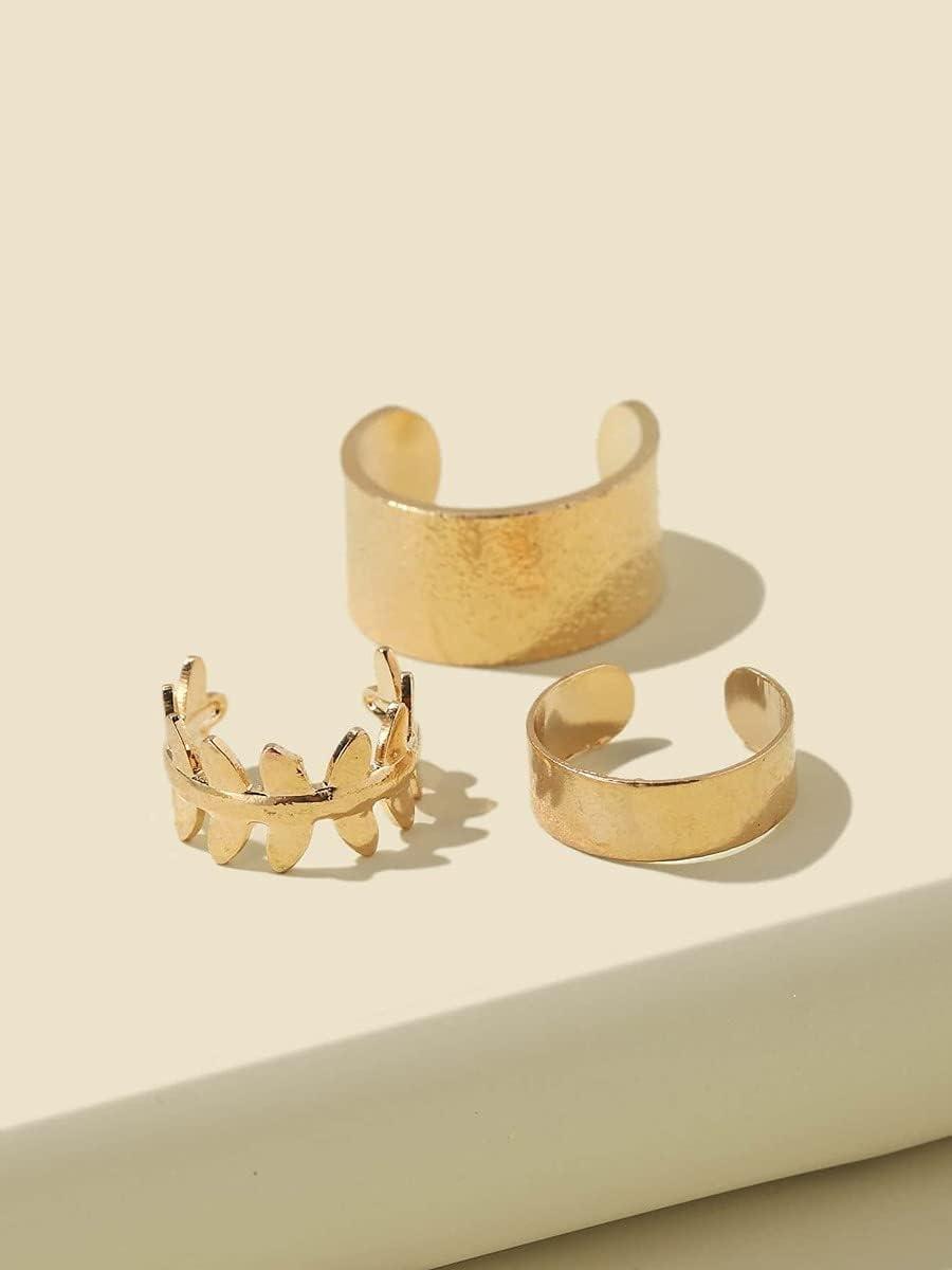 ZHCHL Hoop Earrings 3pcs Metal Ear Cuff (Color : Gold)