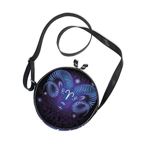 Constellation Zodiac Signs Aries Round Crossbody Bag Messenger Purse