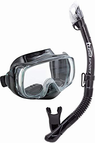 Tusa Imprex 3D - Maschera subacquea boccaglio - Set per snorkeling immersione adulto, Nero/Nero