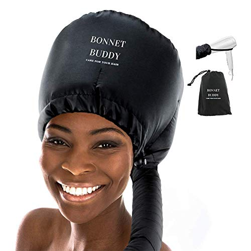 Bonnet Hood Hair Dryer Attachment - Extra Large Soft Adjustable Hair Dryer Attachment for Handheld Hair Dryer - for Natural Textured Curly Hair - Deep Conditioning and Drying Heat Cap - Bonnet Buddy