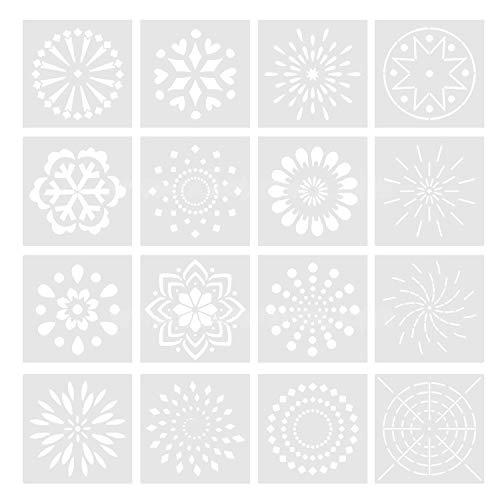 16 Stks Herbruikbare Mandala Dotting Gereedschap Tegels Sjablonen Stencil Set DIY Schilderen Tekenen Tekening Tekening Kunst Craft Projecten Album benodigdheden