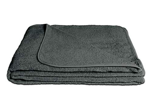 KiGATEX Frotteedecke Sommerdecke softig weich 100prozent Baumwolle 150x200 cm Öko-Tex Zertifiziert (anthrazit)