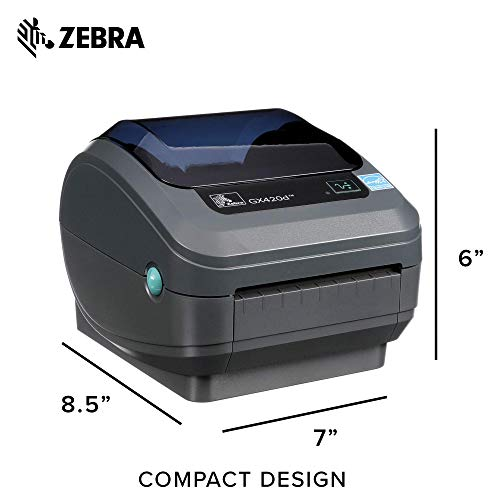 Zebra - GX420d Direct Thermal Desktop Printer for Labels, Receipts, Barcodes, Tags, and Wrist Bands - Print Width of 4 in - USB, Serial, and Parallel Port Connectivity (Renewed) Photo #2