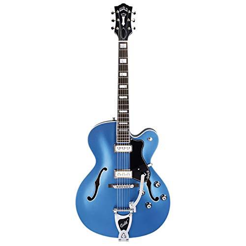 Guild Guitars X-175 Manhattan Special Hollow Body E-Gitarre, Malibu Blue, 43,2 cm Single-Cut w/Tremolo, Newark St. Collection, mit Hartschalenkoffer