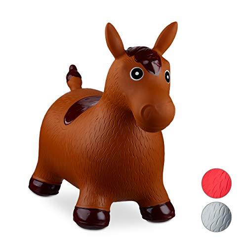 Relaxdays Animale Cavalcabile Cavallo, Giochi Gonfiabili per Bambini, BPA-free, Fino a 50 kg, Pompa Inclusa, Marrone