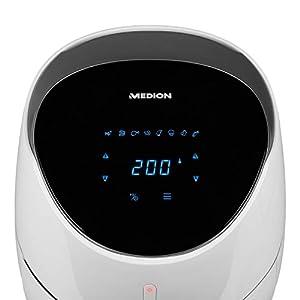 MEDION XXL Heißluftfritteuse mit 2000 Watt (5 L Fassungsvermögen, Digital Display, benötigt kaum Öl, Temperaturkontrolle bis 200°C, MD 19279) weiß
