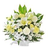 花由 お供え生花アレンジメント ユリ入りSサイズ 白+イエロー系 マケプレプライム便