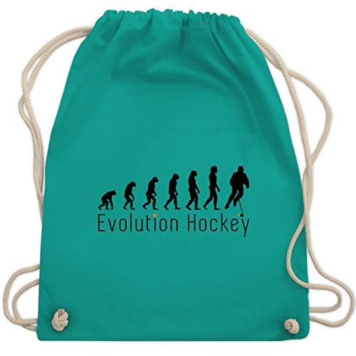 Shirtracer Evolution - Evolution Hockey - Unisize - Türkis - Eishockey - WM110 - Turnbeutel und Stoffbeutel aus Bio-Baumwolle